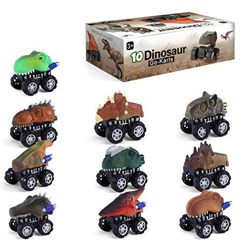 10 Stück Dinosaurier Auto Jungen Spielzeug Alter 2 3 4 Fahrzeuge zurückziehen Lastwagen Pädagogische Kinderspielzeug Party begünstigt Geburtstagsgeschenk für 5 6 Jahre alte Kinder Kleinkinder Mädchen