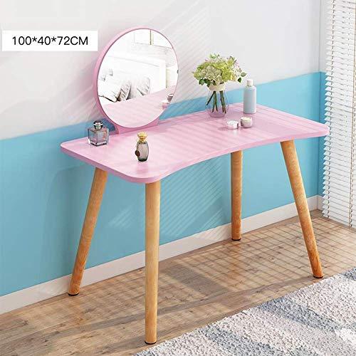 Lsmaa Tabellen Eitelkeit mit Spiegel Holz Makeup Organisiert Dressing Geschenk Frauen Mädchen Bachelorette Minimalism (Farbe: Holz Farbe 100x40x72cm) (Color : Pink 100x40x72cm)