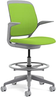 Steelcase Platinum Base with Hard Floor Casters Cobi Stool, Wasabi