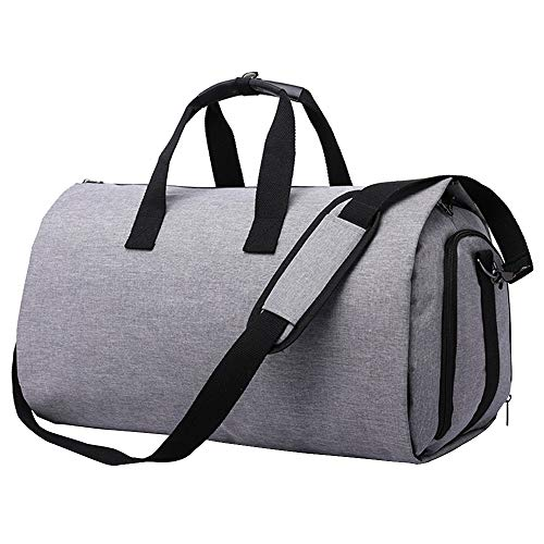 Convertible Garment Bag Carry on Travel Suit Bag with Shoulder Strap, Shoes Compartment - 2 in 1 Waterproof Gym Sport Duffle Bag for Men Women