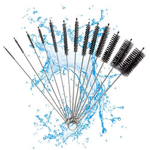 K King'z Juego de 13 cepillos de limpieza pequeños, color negro, para cafeteras automáticas, cepillo estrecho para limpieza de mangueras, limpiador de botellas, cepillo para manguera de leche