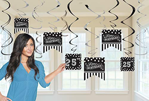 amscan 670435 Deko-Spiralen Set Birthday Personalisierbar, Schwarz & Weiß