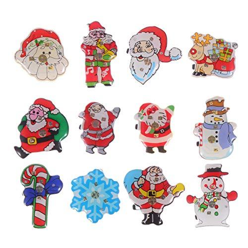 NUOBESTY Weihnachten Brosche zarte Glühen Kunststoff Weihnachtsmann Abzeichen Brust Anstecknadeln Tuch Blinklicht Brosche für Party Geschenk Weihnachten - 25pcs zufällige Art