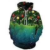 DerDer 3D Impresión Digital Sudadera Con Capucha Compañero Suéter Suelto Suéter De Navidad Santa Suéter Verde verde 3XL