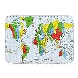 Tapete De Cocina,Alfombra De Ducha,Felpudo,Educar A Los Niños Geografía Mapa Mundial con Países Nombre De La Ciudad Capital Mapa del Mundo Alfombrilla Decorativa 50X80Cm