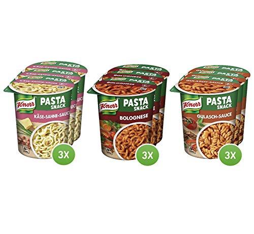 Knorr Snack Bar Pasta Snack Multipack mit Bolognese, Käse-Sahne & Gulasch-Sauce, 9er Pack (9 x 1 Portion)