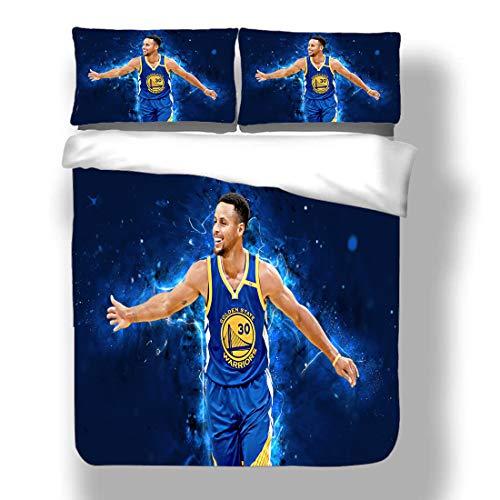 Juego de funda nórdica Stephen Golden State Jugador de baloncesto 30 ropa de cama Chef Curry Warriors Super Star Llevando la pelota Give And Go Edredón con 2 fundas de almohada Antorcha humana Tres pu
