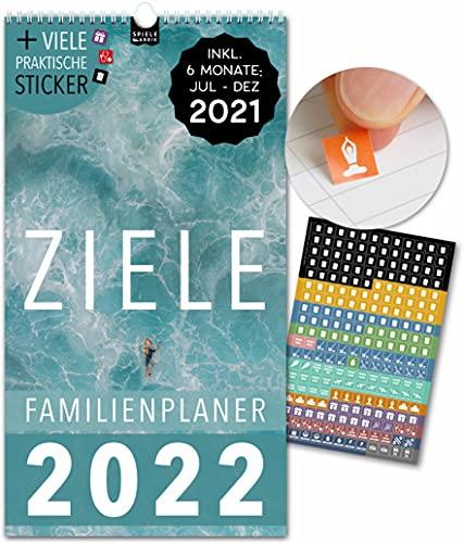 Spielefabrik Familienkalender 2022 Kalender 2022 Wandkalender 2022 in 23x43cm Familienplaner 2022 mit 5 Spalten inkl. Familienplaner 2021 von Juli 21 - Dez 22 Mit Stickern, Tasche, Ferien ZIELE