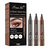 Eyebrow Pencil, Liquid Eyebrow Tattoo, Lapiz Cejas, Coloración de Cejas de 3 Colores Con Puntas Impermeable de Larga Duración Para Maquillaje Natural de Cejas