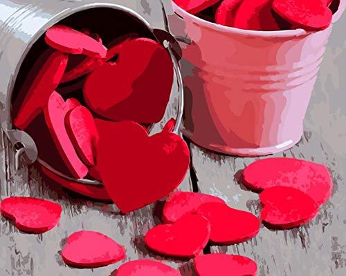 VHNESDFN Amor Origami Pintar por Numeros para Adultos Niños Pintura por Números con Pinceles y Pinturas Decoraciones,DIY Conjunto Completo de Pinturas para el Hogar 40 × 50 cm ( Sin Marco )