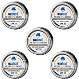 Waxhead Tinted Tins - Sport + Waterman Sunscreen Paste, 4 Ingredients, Biodegradable Sunscreen Reef Safe, Eco Friendly, Surf Sunscreen Tin, Non Nano Zinc Oxide (SPF 30, 5-pack, Tint)