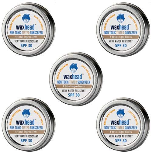 Waxhead Sunscreen Mini Tins - Tinted Biodegradable Sunscreen Reef Safe, Tinted Zinc Oxide Sunscreen, Safe Sunscreen Hawaii, Surfer Sunscreen, Travel Size Sunscreen (SPF 30, 5-pack, .5oz each, Tinted)