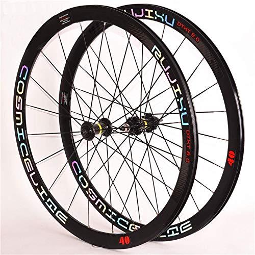 MNBV Field Racing Wheels 700C Juego de Ruedas de Bicicleta Fixie Utilizado para Entrenamiento y Competencia 40 Cuchillo Buje de Tubo de Carbono Llanta de aleación Juego de Ruedas de Bicicleta de