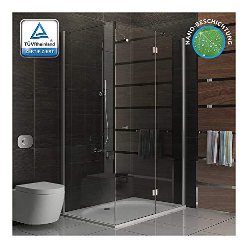 Walk in douche ca. Alpenberger Hoekinstap douchecabine, helder veiligheidsglas, douchewand met nanocoating, deur met zijwanden, schommeldeur van 120 x 80 x 200 cm