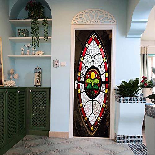 BXZGDJY 3D Deur Sticker Kunst Bloemen - Glas in lood 90X200Cm - 3D Deur muursticker Deur voor Woonkamer Kids Baby Kinderen Verwijderbare Vinyl Muursticker Art Home Decoratie