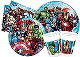 Ciao- Kit Party Tavola Marvel Avengers Mighty Persone (112 Pezzi Ø23cm, Piatti Ø20cm, 24 Bicchieri plastica 200ml, 40 tovaglioli Carta 33x33cm), Y4952