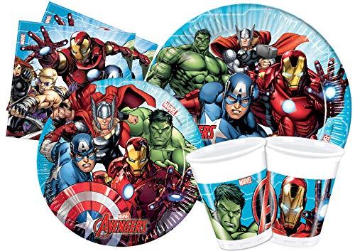 Ciao- Kit Mesa Fiesta Party Marvel Avengers Mighty para 8 personas (44 piezas: 8 platos de papel Ø23cm, 8 platos de papel Ø20cm, 8 vasos de plastico 200ml, 20 servilletas de papel 33x33cm), Y4951