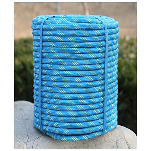 Cable de Escalada Azul 10mm/12mm/14mm/16mm Cuerda De Escalada,Cuerda De Rappel De Aventura Al Aire Libre, Cuerda Electrostática Salvavidas Cuerda De Aventura Camping Rescate Cuerda De Nylon A Prueba D