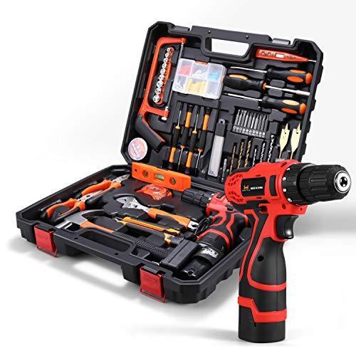 HOH-Tech Akku-Bohrhammer Werkzeugsatz, 60-teiliges Haushalts-Elektrowerkzeug-Bohrset mit 16,8V Lithium Treiber Klauenhammerschlüsselzangen DIY-Zubehör-Werkzeugsatz