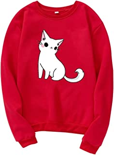 Woman Pullover Fashion Casual Loose Hooded O-Neck Long Sleeve Cat Print Sweatshirt