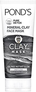 POND'S Pure Detox Mineral Clay Activated Charcoal, 4X Oil Absorbing, Detoxifying, Clay Mask For Oil Free Instant Glow, Fac...