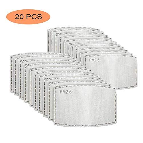 HJZXC 20 Piezas Filtro Protector de carbon Activado,Filtro de carbon Activado Protector de 5 Capas reemplazable,Papel de Filtro Externo antivaho