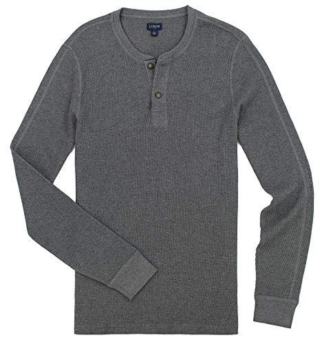 J. Crew Men's Thermal Henley Shirt, (Medium, Carbon)