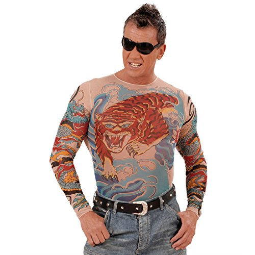NET TOYS Tatouage Tigre et Dragon déguisement Shirt Sleeves Carnaval t-Shirt Tribal Carnaval Tribal