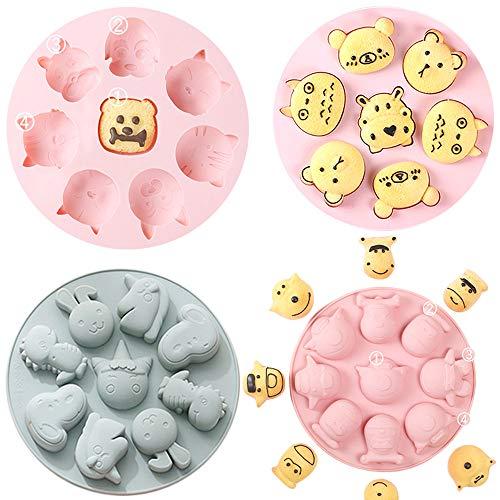 X-BLTU 4 Pack 33 Cavities Animal Silikon Backform, Kuchenform,Silikonbackform, Tortenformen, Gugelhupfform, Muffinform, Besondere Backform für Küche, Torte, Brot, Backen