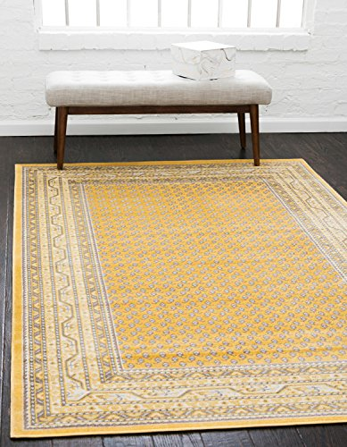 Unique Loom Williamsburg Collection Traditional Border Yellow Area Rug (8' 0 x 10' 0)
