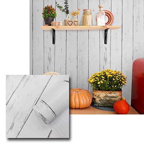 Urban Décor Modern Wallpaper, Peel-and-Stick Wall Décor (1.47' x 8' (2pcs, 23.6 sqft), Nordic White Wood)