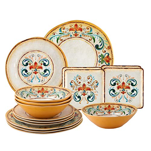 Gourmet Art 16-Piece Tuscany Heavyweight and Durable Melamine Dinnerware Set, Service for 4. Includes Dinner Plates, Salad Plates, Dessert Plates and Bowls. for Indoors Outdoors Use and Everyday Use.
