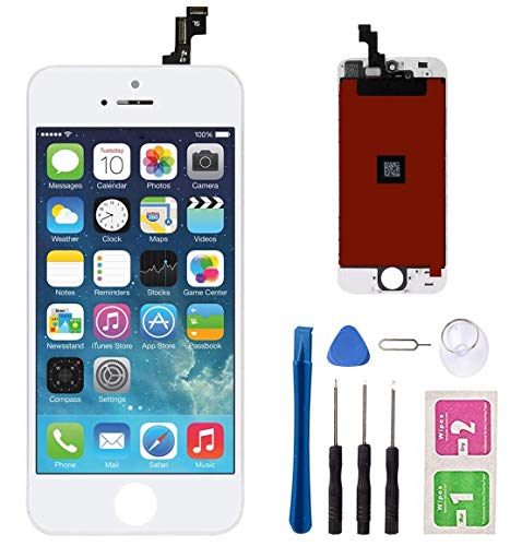 """Screen Replacement for iPhone 5s/SE White 4"""" LCD Display Touch Screen Digitizer Replacement Full Assembly with Repair Tool Kit"""
