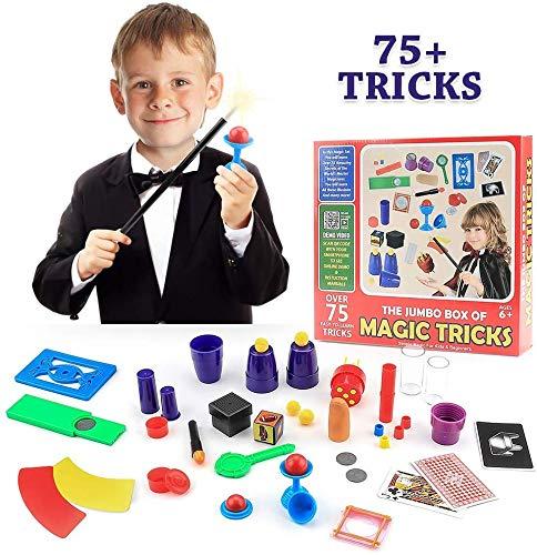 EPCHOO Zauberkasten, Zaubertricks mit über 75 Geheime Zaubertricks Lernen Magic-Kit Mit 17 Arten von Magischen Requisiten ZaubertricksfürKinder Erwachsene Einsteiger
