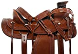 "Manaal Enterprises Size 14"" 15"" 16"" 17"" 18"" Wade Tree A Fork Premium Western Leather Roping Ranch Work Horse Saddle TACK Headstall, Breastplate (17"" Inch Seat, Walnut Oil)"