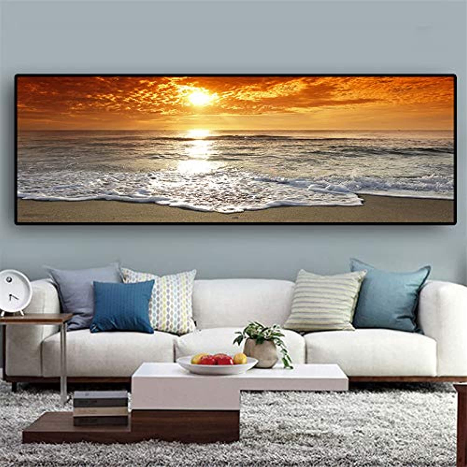 W15Y8 Sunsets Natural Sea Beach Landscape Posters And Prints Canvas Panorama Scandinavian Wall Art Picture For Living Room30X100Cm (No Frame)