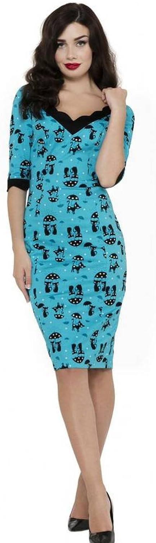 Women's Voodoo Vixen Cool KatCats In The Rain Pencil Dress bluee