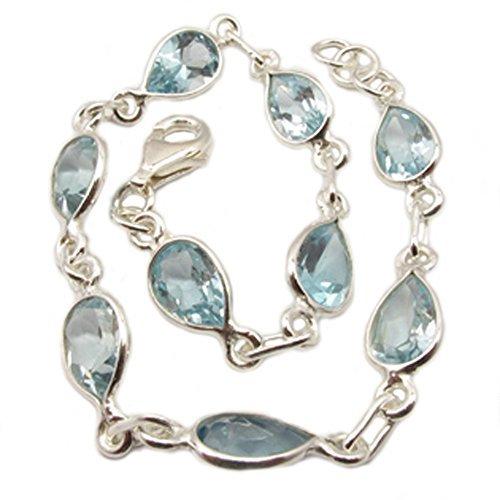 Blautopas Armband Sterling-Silber 925, Länge: 19 cm; 20,5 cm