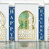 Hanukkah Decoration,Happy Hanukkah Banner,Chanukah Porch Sign,Jewish Festival Holiday Celebration Decor Outdoor Indoor Front Door Porch