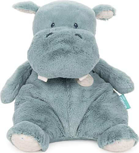 GUND Baby Oh So Snuggly Hippo Large Plush Stuffed Animal Understuffed and Quilted for Tactile Play and Security Blanket Feel for Baby and Infant Teal Blue and Cream 125quot