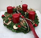 FRI-Collection Meisterfloristik Adventskranz Weihnachtskranz künstlich mit 4 roten Kerzen 35