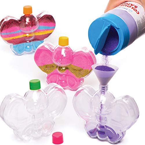 Baker Ross- Botellas de plástico en forma de mariposa para decorar con arena (Pack de 5) - Manualidades infantiles para llenar con arena o purpurina (no incluidas)