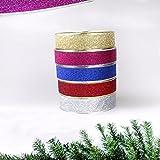 Yookstar 100 cm x 5 cm Navidad Metálico Brillantes Bandas de Oro, Silbrig, Rojo, Rosa, Azul Banda para Regalo Wrapping, árbol de Navidad decoración de la habitación
