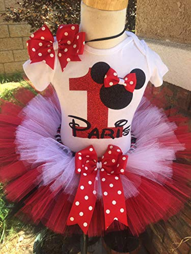 Minnie Mouse Birthday Outfit Tutu Set Dress Shirt ANY AGE Pink Gold and White
