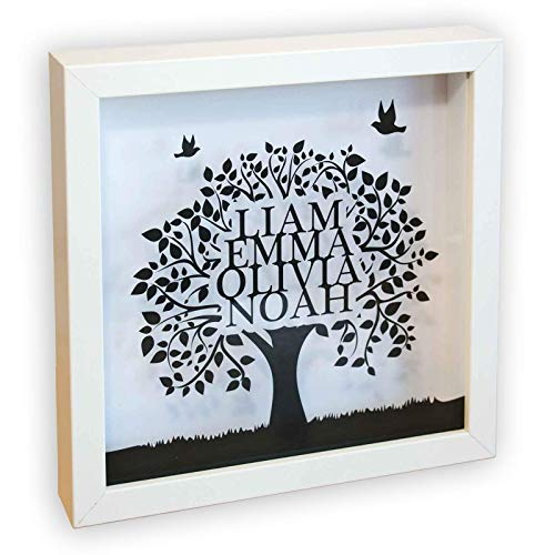 Stika.co - Cornice regalo personalizzata con albero genealogico, misura: 23 x 23 cm bianco