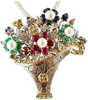 Spilla/Pendente Vaso di Fiori Diamanti, Rubini,Smeraldi, Zaffiri, perle