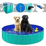 YAOBLUESEA Piscina para Perros, 160x30 CM Piscina para Perros Piscina de baño Plegable para Mascotas, Grande/Verde