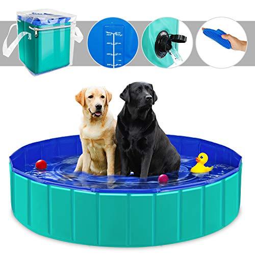 YAOBLUESEA Hunde Planschbecken, 160x30CM PVC Hundepool Doggy Pool Faltbarer Badewanne Pool-Groß/Grün