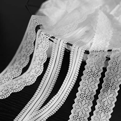 DAHI spitzenband weiß elastische Spitze 30 Meter Vintage Spitzen Band Spitzenborte für Nähen Handwerk Hochzeit Deko Scrapbooking Geschenkbox (elastische Spitze-3 Type)