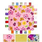 Breathable Infant Taggy Decke Soft Touch Plüsch Taggy Spielzeug Komfortable Sicherheit Taggie Geschenk für Bedtime Neugeborene Baby -Kleine Blumen